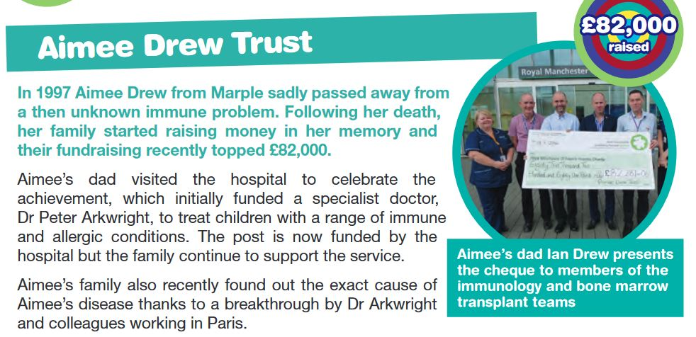 Aimee Drew Trust article in Central Manchester University Hospitals NHS Foundation Trust Charity - Thank You Issue 31 2015