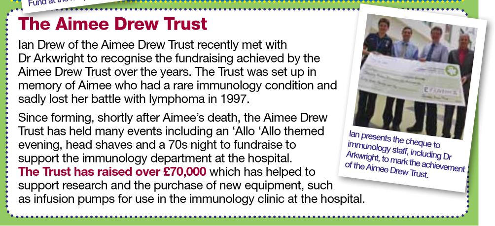 Aimee Drew Trust article in Central Manchester University Hospitals NHS Foundation Trust Charity - Thank You Issue 22 2011