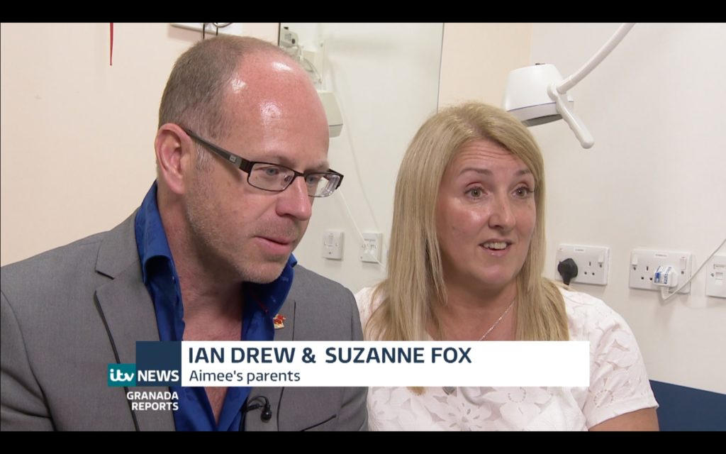 ITV Granada Reports news article on the work of the Aimee Drew Trust